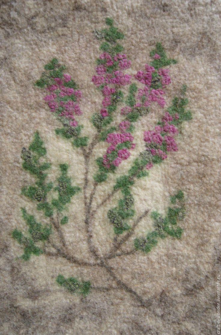 """Купить Панно войлочное """"Вереск"""" - зеленый, розовый, панно войлочное, гербарий, вереск, травы"""