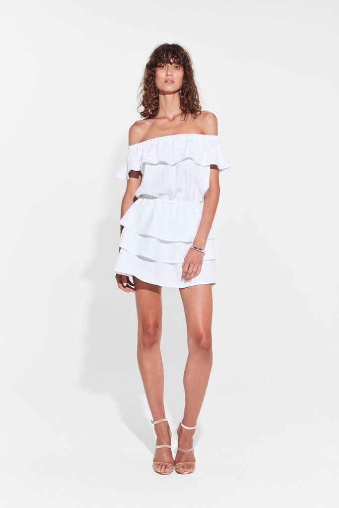 SIR the label - Stefi Off Shoulder Mini Dress White