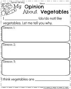 Opinion Writing Prompt for Spring - My Opinion About Vegetables.