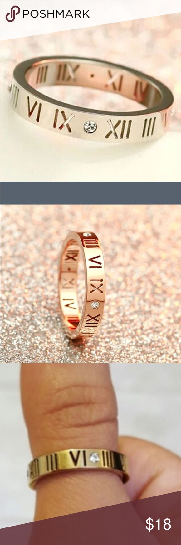 Stainless Steel Rose Gold tone ring/band Hollow Roman Numeral Stainless CZ crystal 4MM Band. Jewelry Rings