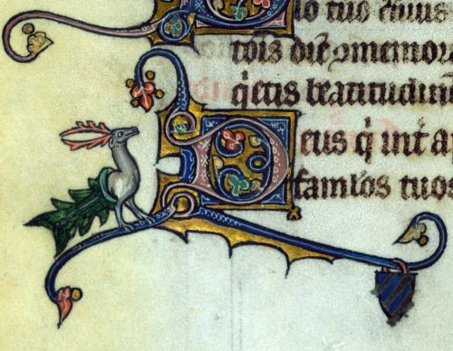 water stag 'Fieschi Psalter', Cambrai ca. 1290-1295 Baltimore, The Walters Art Museum, Walters Manuscript W.45, fol. 227v