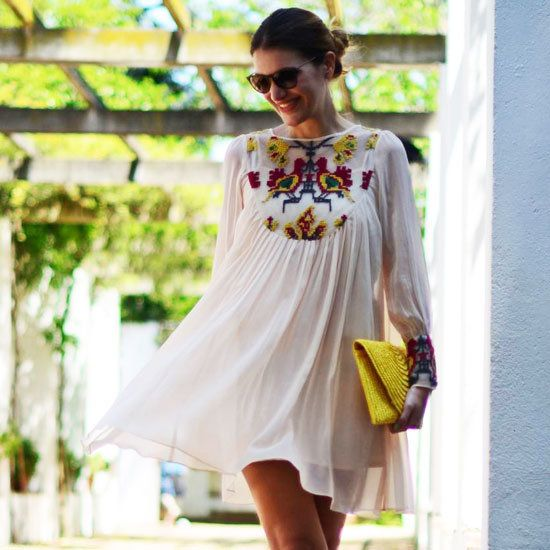 tunic dress, would use a different bag to be more casual.. or just because clutches are irritating..