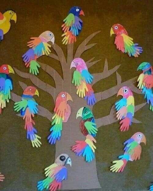 Tip van de juf : vrolijke papegaaien