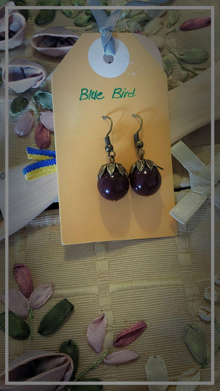 Crimson oak fruit earrings by BlueBirdjewel on Etsy