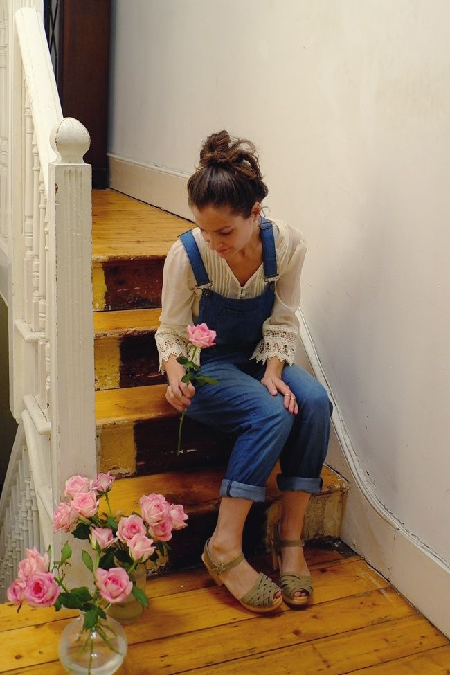 Just perfection, beautiful blouse, functional dungarees and great clogs.