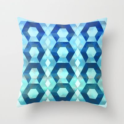 Blue hexy Throw Pillow by San Eli - $20.00