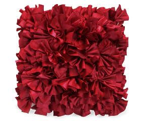 I found a Red Satin Ruffle Throw Pillow, (18