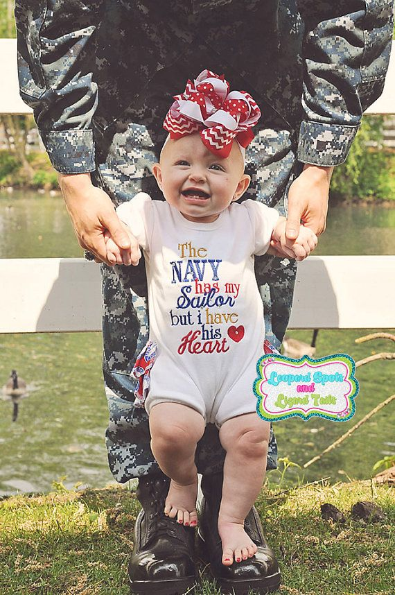 The Navy Has My Sailor But I Have His Heart Embroidered Onsie or Tee- Military - Homecoming Shirt - US Navy - Sailor Girl via Etsy