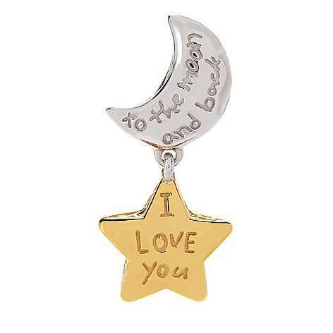 """152-812 - Gems en Vogue """"To the Moon & Back"""" Two-tone Moon & Star Drop Charm"""