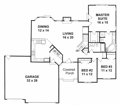Plan 1672 3 bedroom ranch w angled walls and 3 car for Angled garage rambler house plans