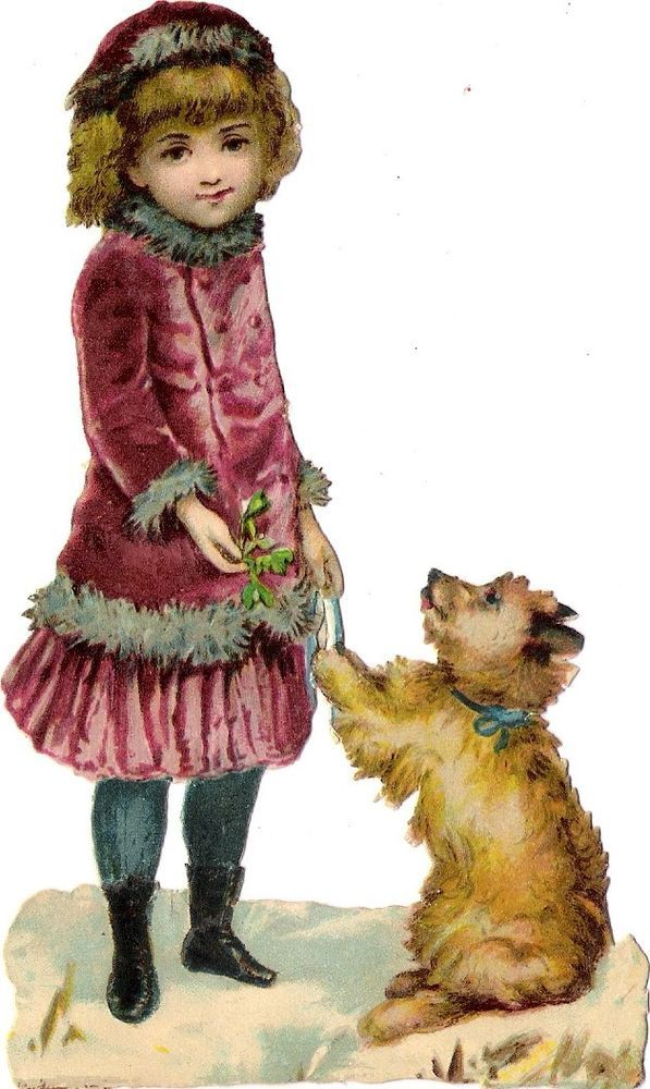 Oblaten Glanzbild scrap die cut chromo Winter Kind 13,4 cm enfant Hund dog chien