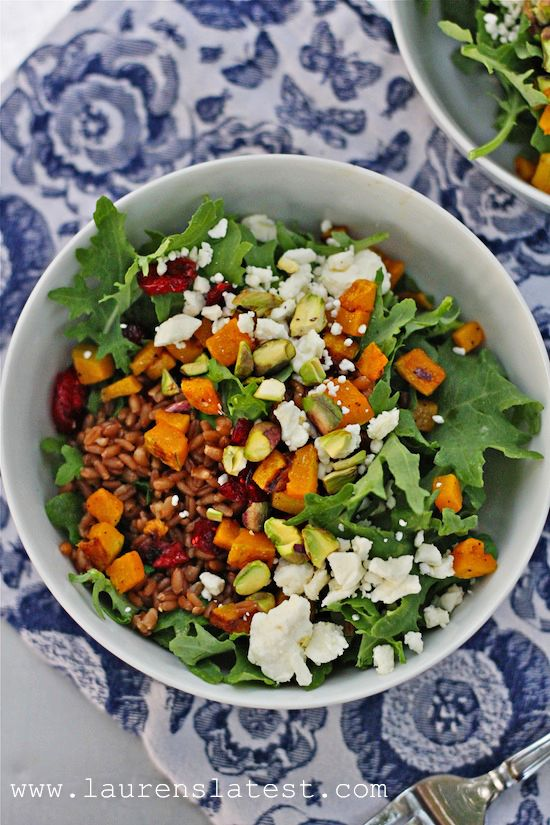 Winter Wheat Berry Power Salad...baby kale, pistachios, roasted butternut squash, feta, wheat berries and craisins!