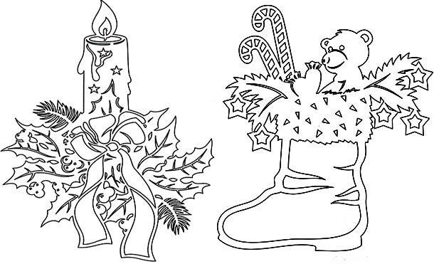 Новогодняя вытынанка Свеча и сапожок