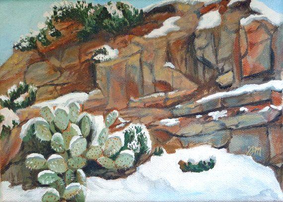 Snowy Prickly Pear original cactus oil by GretchenMattaStudio, $90.00