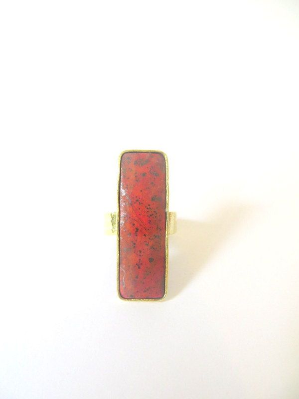 Brass Cuprite Oblong Ring by Picossa on Etsy