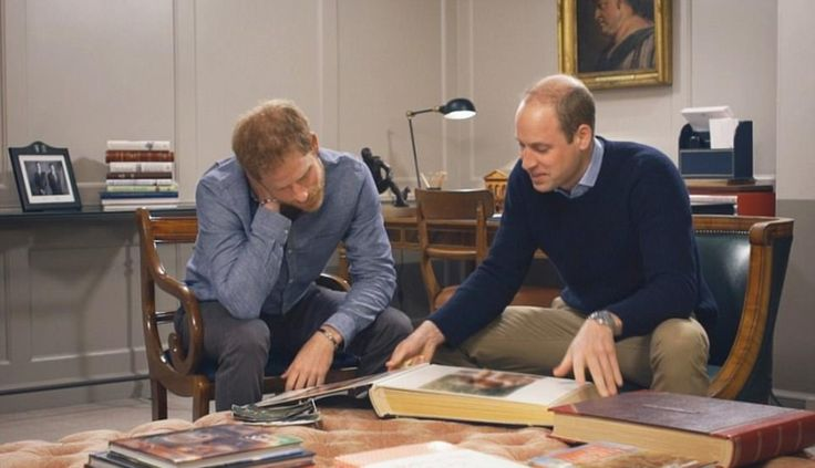 Happy memories: Princes leaf through photos including two newly released images: the holid...