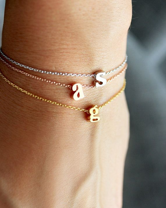 SALE Initial Bracelet Lowercase Gold Silver Rose by TomDesign