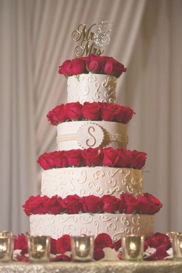 Four Tier Cream Wedding Cake Red Roses Mr And Mrs Cake Topper