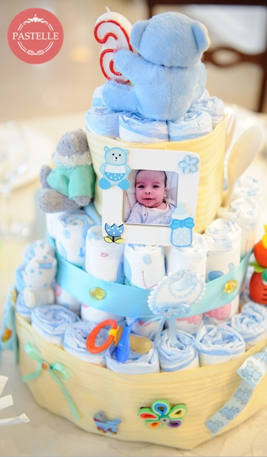 Baby party decorations diaper cake centerpiece decor for Baby diaper decoration ideas