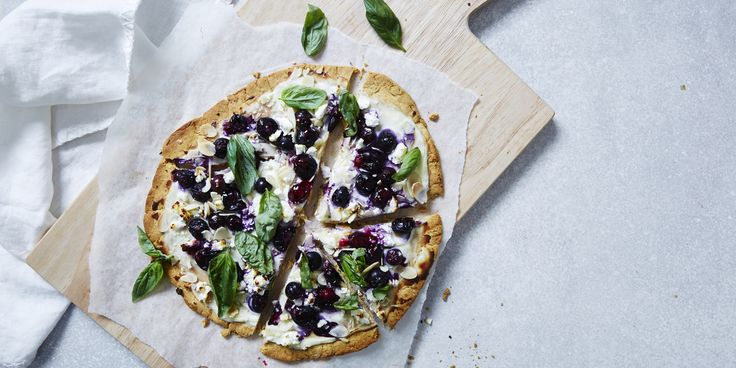 Berry Breakfast Chickpea Flour Pizza via @iquitsugar