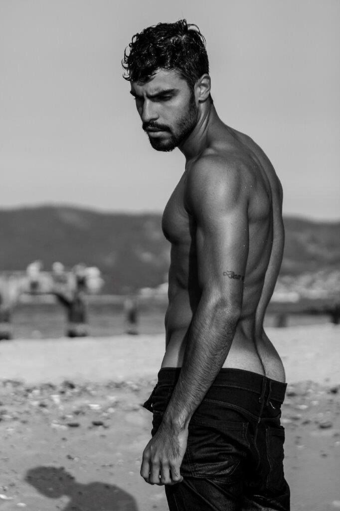 6f3b8b69cf8c Bruno Krause, male model, Marcio Farias, black and white, bearded, handsome  guys, outdoor, sexy, shirtless, tattoo