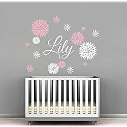 Custom Flowers Name Wall Decal - Girls Kids Room Decor - Nursery Wall Decals - Flower Decals for Girls Room (40Wx32H)