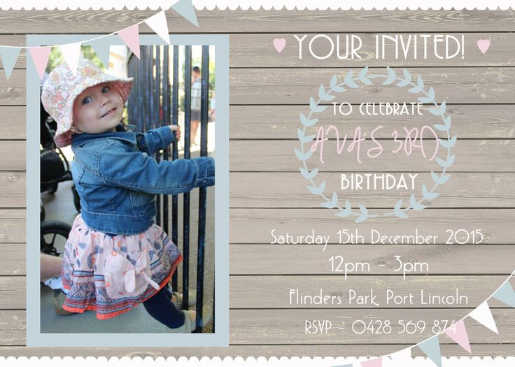 Rustic Girls Birthday Party Invitation, Bunting, chic design, Personalised Digital Print, Print Yourself! by LittleFeetInvites on Etsy