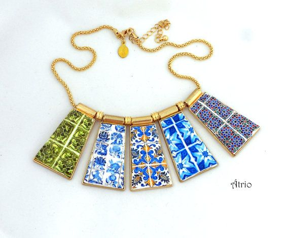 Portugal Antique Azulejo Tile Replica Necklace Monserrate by Atrio