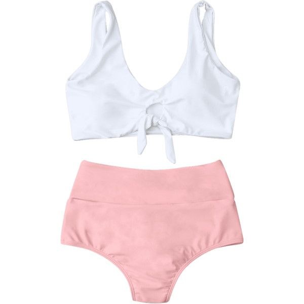 High Waisted Ruched Bikini Set ($15) ❤ liked on Polyvore featuring swimwear, bikinis, high waisted swim wear, pink high waisted bikini, high rise bikini, scrunch bikini and highwaist swimwear