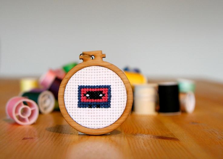Cassette Tape Cross-stitch Pendant - whistlingteapot.com.au