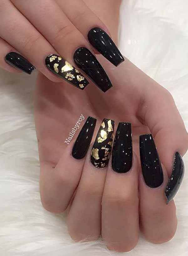 Black Nail Designs With Diamonds Is A Best Nail Design Option But All The Black Nail Designs With Diamonds Black Nail Designs Gold Nails Diamond Nail Designs