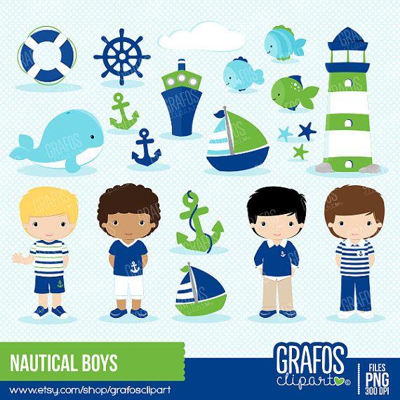 NAUTICAL BOYS  Digital Clipart Set Nautical by GRAFOSclipart