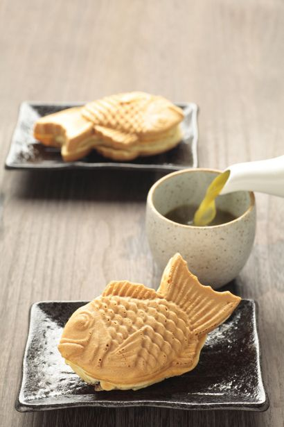 Japanese sweets, Taiyaki たい焼き - fish shaped cake with red bean paste made from sweetened azuki beans inside.
