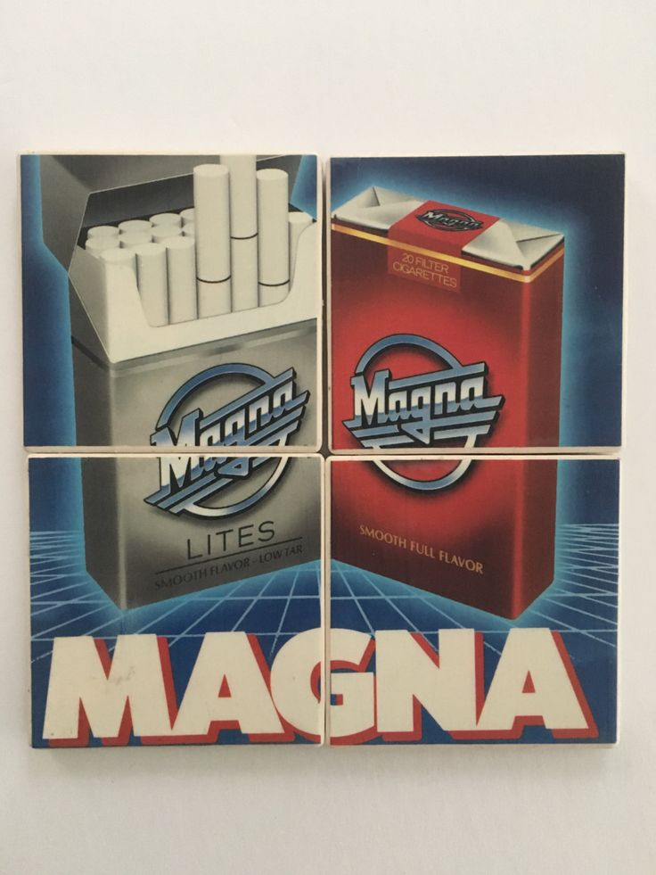 Set of 4 Ceramic Hot and Cold Drink Beverage Coasters with Felt Backing featuring Vintage MAGNA CIGARETTE AD Magazine Advertisement 1991 by UpcyclingIt on Etsy