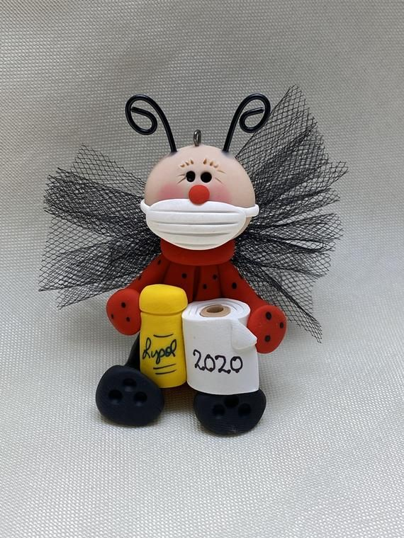 Ladybug ornament with toilet paper and Lysol Etsy in