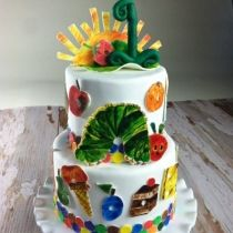 Hungry Caterpillar Cake with hand cut and hand painted accents, by Sweet and Swanky Cakes. Photo by Jewel Images.