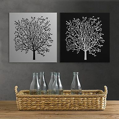 Stretched Canvas Print Art Floral Black White Tree Set of 2 – AUD $ 60.64