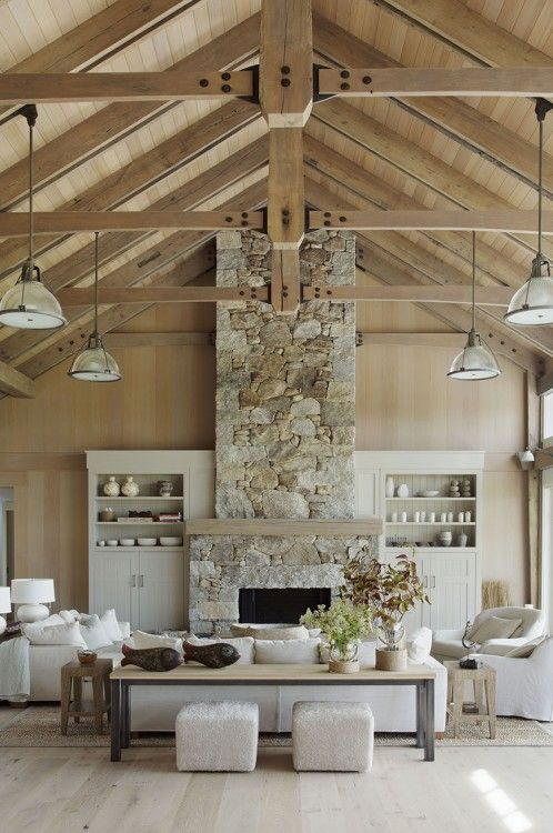 Hutker Architects Beach Barn Awesomeness! Love the lights, white walls, wood ceiling with exposed beams, all neutral furniture.