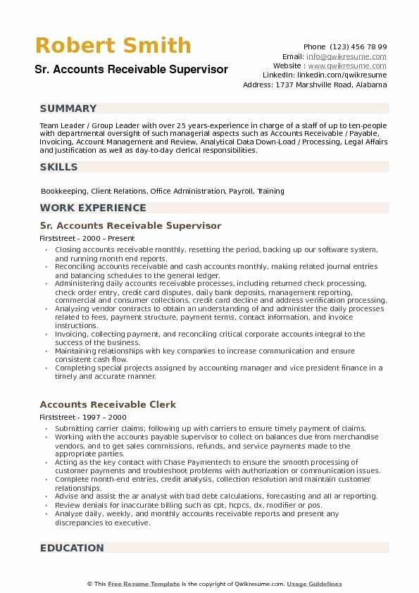 Accounts Payable And Receivable Resume Beautiful Accounts Receivable Supervisor Resume Sampl In 2020 Job Resume Examples Good Resume Examples Resume Objective Examples