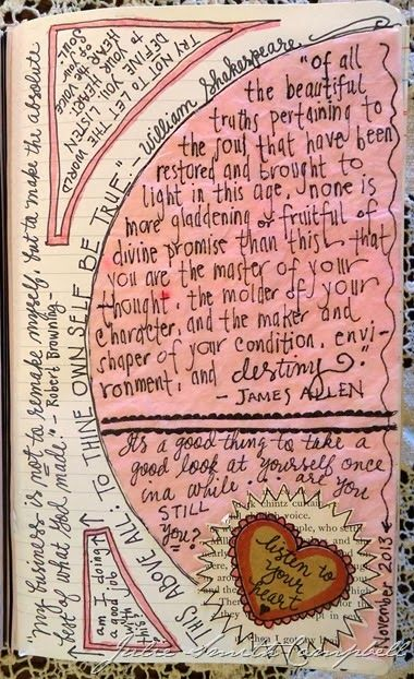 """To thine own self be true"". Pinner : ""A page from one of my art journals."""