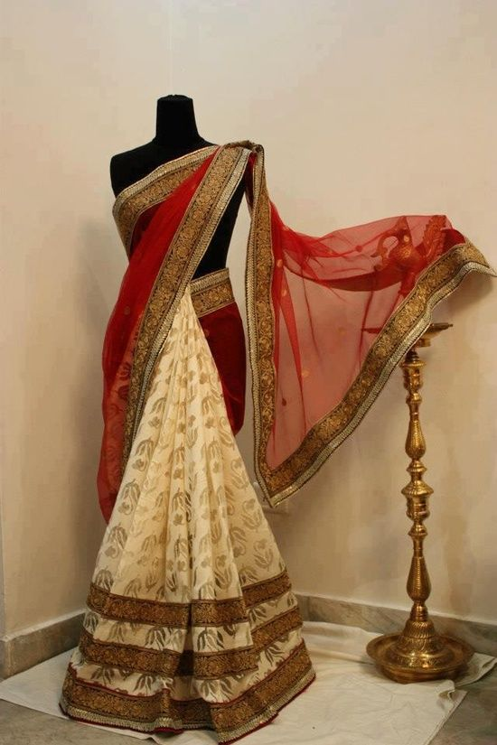 stunning red and cream sari adorned with gold work perfect for bridesmaids