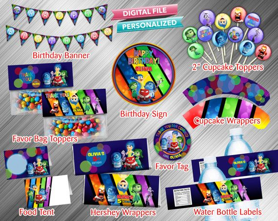 Inside Out Printable Party Package by kidspartydiy on Etsy