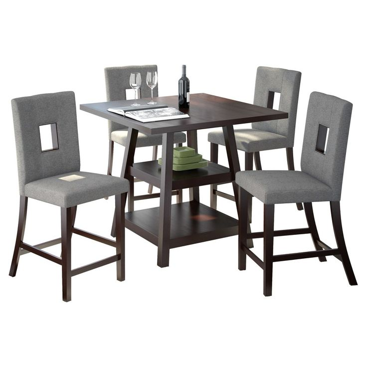Bistro 5 Piece Counter Height Cappuccino Dining Set - Pewter Grey - CorLiving, Dark Cappuccino