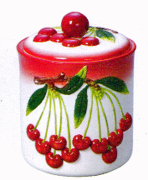 Cherry Cookie Jar, Canister, Cookie By Marcel Imports