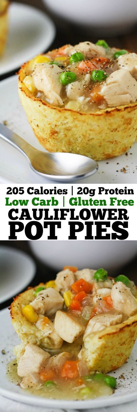 These Low Carb Cauliflower Pot Pies have all the flavors of a traditional chicken pot pie in guilt free form! Gluten free, low calorie and delicious! www.itscheatdayev...