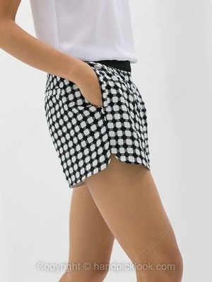 Black and White Mid Waist Plaid Shorts -$19.39