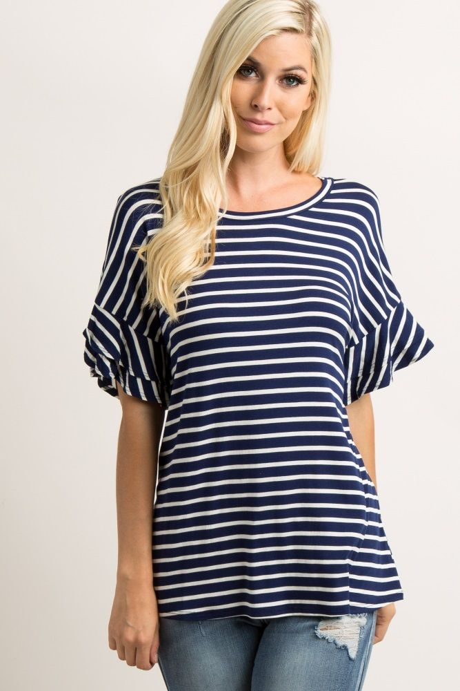 667ce991ccd8c Navy Blue Striped Layered Sleeve TopA striped top featuring short layered  sleeves and a rounded neckline. This style was created to be worn before,  during, ...