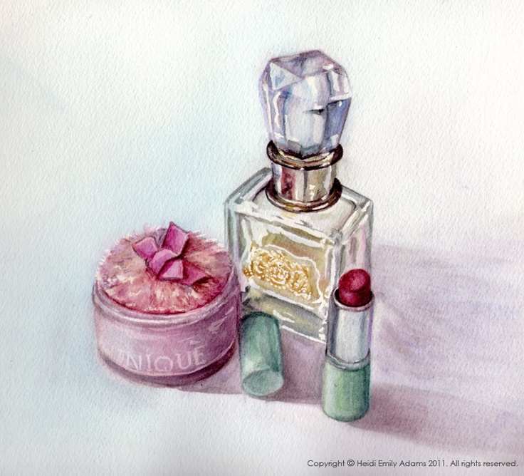 Heidi Emily Adams Illustration: Perfume, a Pink Powder Puff...and a Lesson on Painting Glass