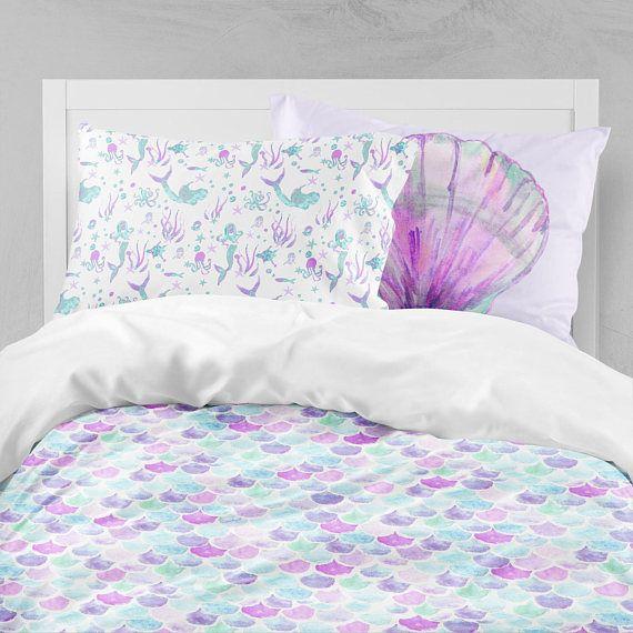 Mermaid Twin Bedding Toddler Comforter Duvet Mermaid Etsy Kids Bedding Sets Toddler Comforter Big Kid Bed