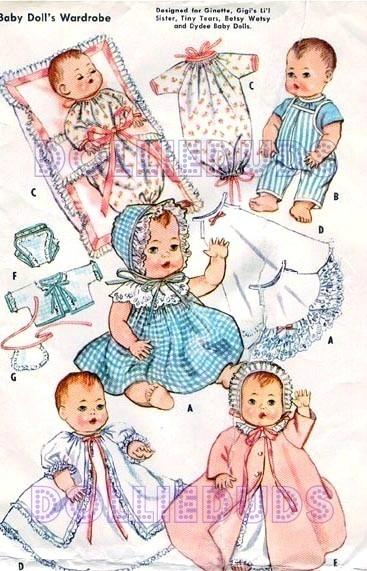 91 best Vintage Doll Sewing Patterns images on Pinterest | Doll ...